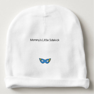 Mommy's Little Sidekick superhero mask blue Baby Beanie