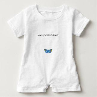 Mommy's Little Sidekick superhero mask blue Baby Romper