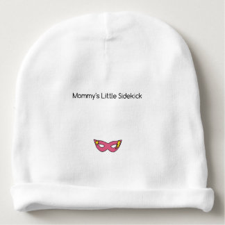 Mommy's Little Sidekick superhero mask pink Baby Beanie