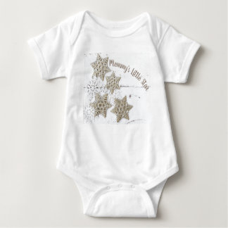 Mommy's Little Start Baby Body Suit Gold White Baby Bodysuit