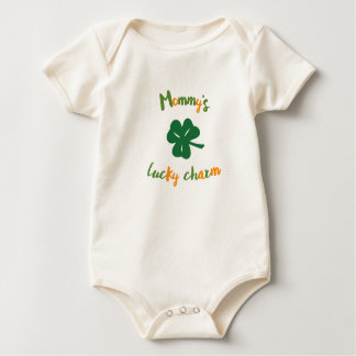 Mommy's lucky charm Organic St. Patrick's Day Baby Bodysuit