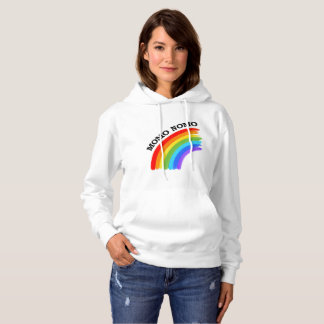 MOMO NOMO Women White Gay Pride Hoodie with back
