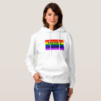 MOMO NOMO Women's White Gay Pride Hoodie with back
