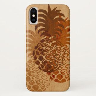 Momona Pineapple Hawaiian Tropical Faux Wood iPhone X Case