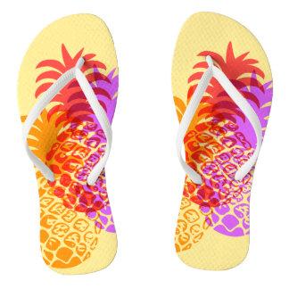 Momona Pineapple Hawaiian Tropical Reversible Flip Flops