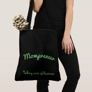 Mompreneur black and green flower mandala design tote bag