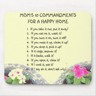 Mom's 10 Commandments Mouse Pad