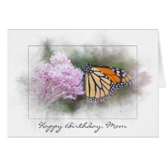 Mom's birthday monarch butterfly on wildflower card