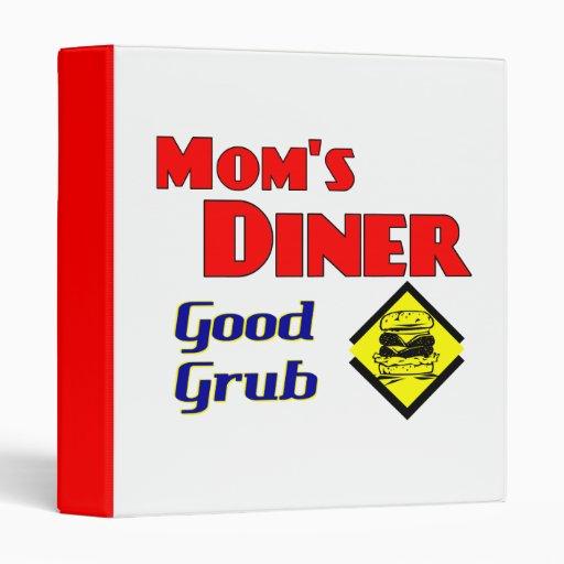 Mom's Diner Good Grub Funny Retro Saying Binder