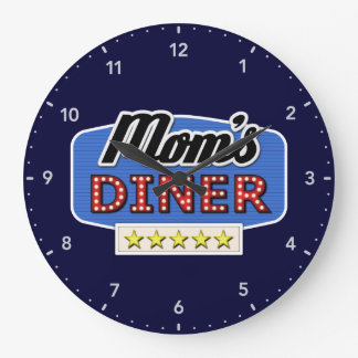 Mom's Diner Sign Large Clock