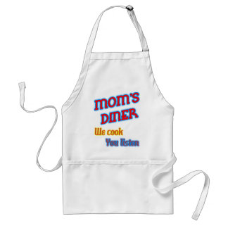Mom's Diner We Cook You Listen Funny Neon Standard Apron