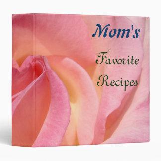 Mom's Favorite Recipes binders Pink Rose Flowers