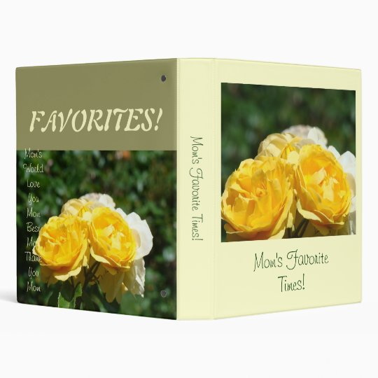 Mom's Favourite Times! binder Yellow Rose Flowers
