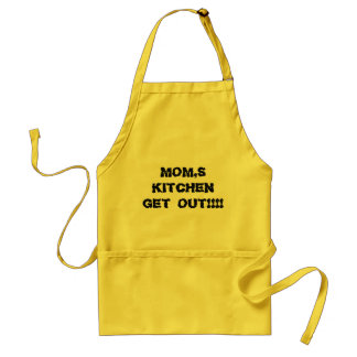 MOM'S KITCHEN GET OUT Yellow APRON