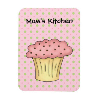 Moms Kitchen Yummy Cup Cake (Add Your Own Text) Rectangular Photo Magnet
