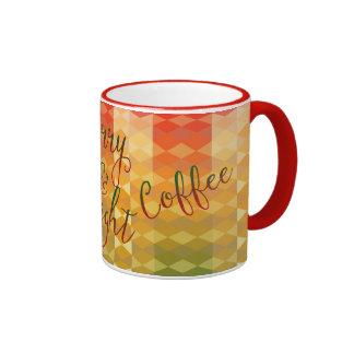 Mom's Merry and Bright Coffee Festive Polygons Ringer Mug