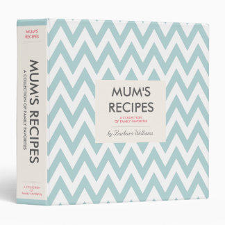 Mom's Recipe Binder - Vintage Blue Chevron