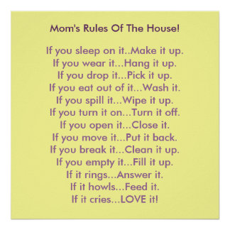 Mom's Rules Of The House Poster