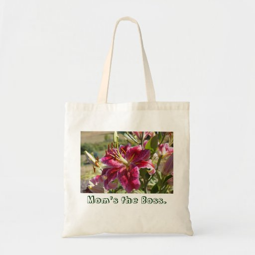 Mom's the Boss Tote Bags Pink Lily Flowers custom