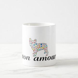 "mon amour ""my love"" frenchie heart tea mug"
