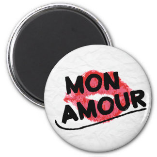 Mon Amour My Love Red Lipstick Kiss Distressed Magnet