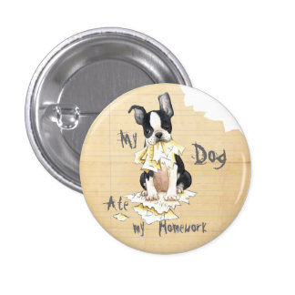 Mon Boston Terrier a mangé mon travail Badges Avec Agrafe