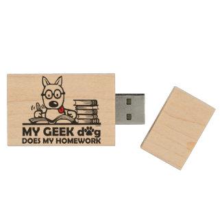 Mon chien de geek fait mon travail clé USB 2.0 en bois