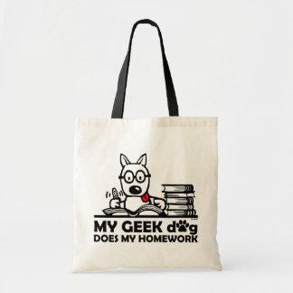 Mon chien de geek fait mon travail sac en toile budget