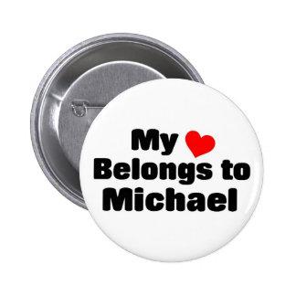Mon coeur appartient à Michael Macaron Rond 5 Cm
