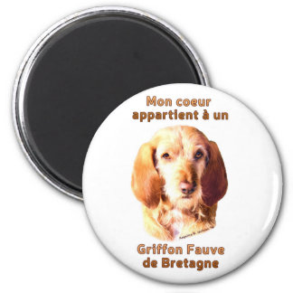 Mon Coeur Appartient A Un Griffon Fauve deBretagne 2 Inch Round Magnet