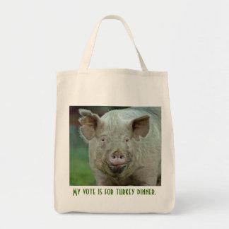 Mon vote est pour le dîner de dinde sac en toile épicerie