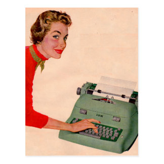 Mona and Her New Typewriter Postcard