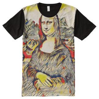 Mona Lisa Abstract Scroll Portrait All-Over-Print T-Shirt