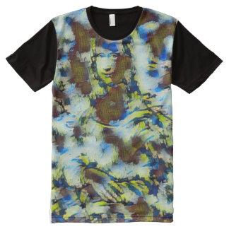 Mona Lisa Acrylic Abstract Portrait All-Over-Print T-Shirt