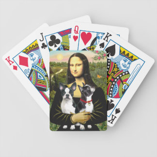 Mona Lisa and her Two Boston Terriers Poker Deck