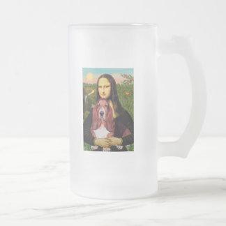 Mona Lisa - Basset Hound #1 Frosted Glass Beer Mug
