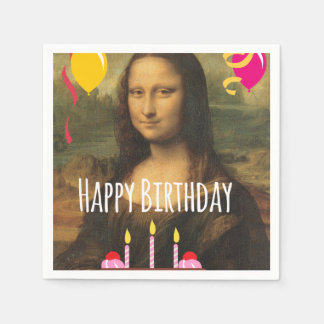 Mona Lisa Birthday With Cake and Balloons Disposable Napkins