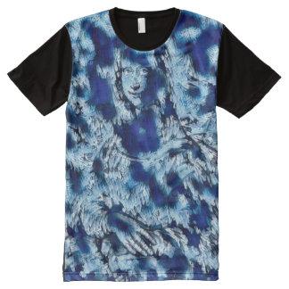 Mona Lisa Blue Abstract All-Over-Print T-Shirt