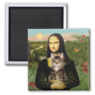 Mona Lisa - Brown Tabby Tiger cat Square Magnet