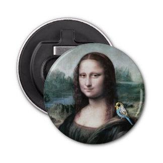 Mona Lisa & Budgies Button Bottle Opener