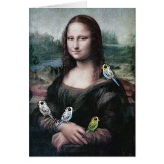 Mona Lisa & Budgies Card