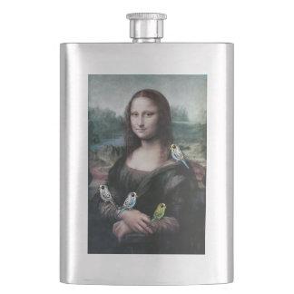 Mona Lisa & Budgies Hip Flask