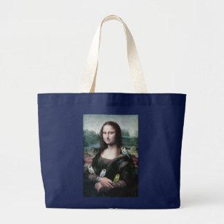 Mona Lisa & Budgies Large Tote Bag