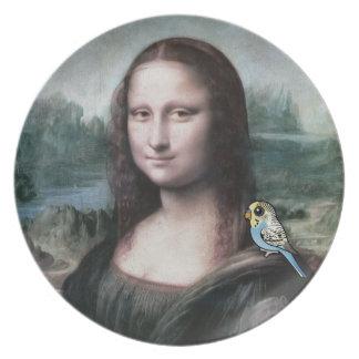 Mona Lisa & Budgies Plate