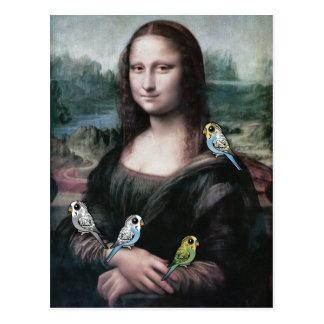 Mona Lisa & Budgies Postcard