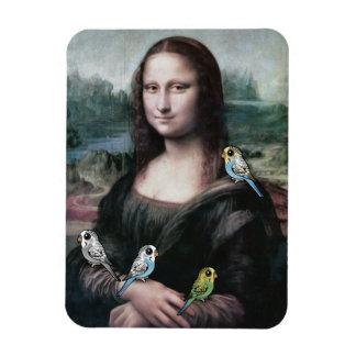 Mona Lisa & Budgies Rectangular Photo Magnet