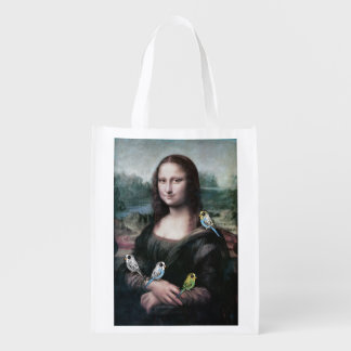 Mona Lisa & Budgies Reusable Grocery Bag