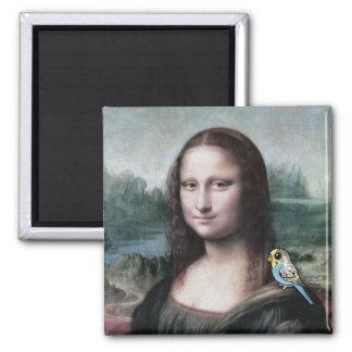 Mona Lisa & Budgies Square Magnet