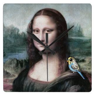 Mona Lisa & Budgies Square Wall Clock