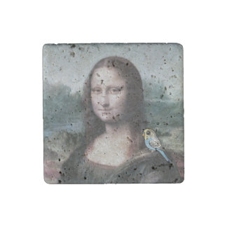 Mona Lisa & Budgies Stone Magnets
